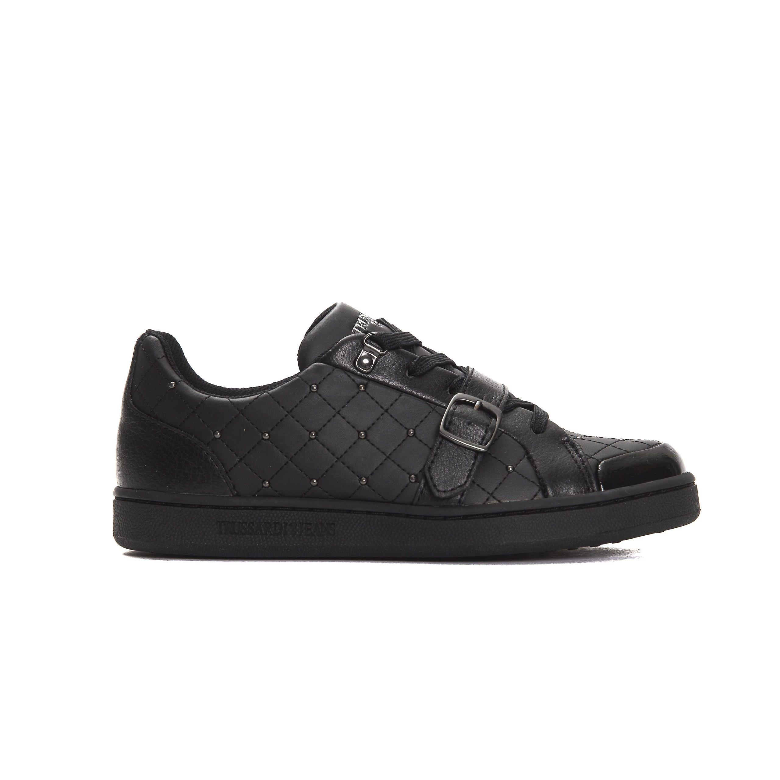 Trussardi Jeans Nero Black Calf Leather Diamond Quilt Sneakers 4tyjG