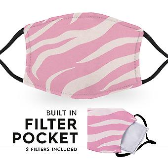 Pink Tiger Print - Reusable Adult Cloth Face Masks - 2 Filters Included