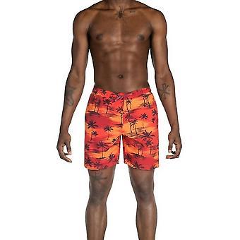 Saxx Underwear Co Cannonball 2N1 Regular Swim Shorts - Sunset Palm Red