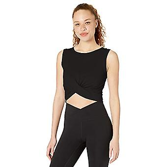 Core 10 Women's Pima Cotton Blend Knot Front Cropped Yoga Tank, Zwart, Groot