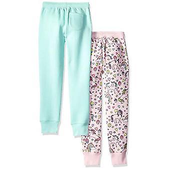 Brand - Spotted Zebra Girls' Big Kid 2-Pack Fleece Jogger Pants, Unico...