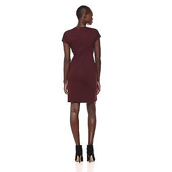 Merk - Lark & Ro Women's Cap Sleeve Faux Wrap Sheath Dress, Burgundy, 4