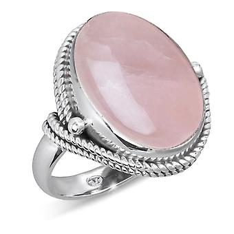 ADEN 925 Sterling Silver Pink Quartz oval Shape Ring (id 4277)