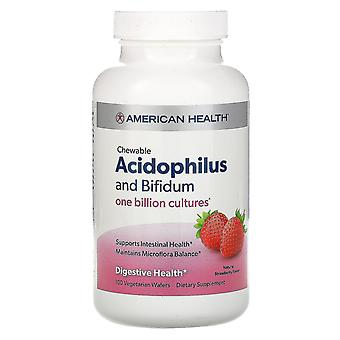 American Health, Chewable Acidophilus And Bifidum, Natural Strawberry Flavor, 10
