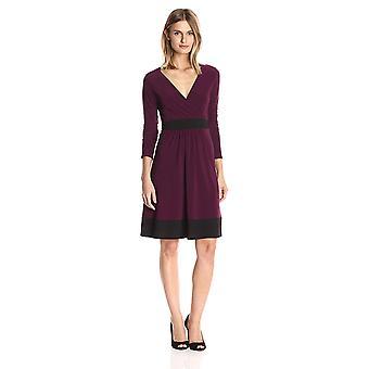 Star Vixen Women's Plus-Size Long Sleeve Skater Dress, Purple/Black, 1X