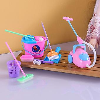9pcs Girl House Funny Dolls Furniture Cleaning Kit Set- Home Furnishing Vacuum Cleaner Mop Broom Tools Pretend Play Toys