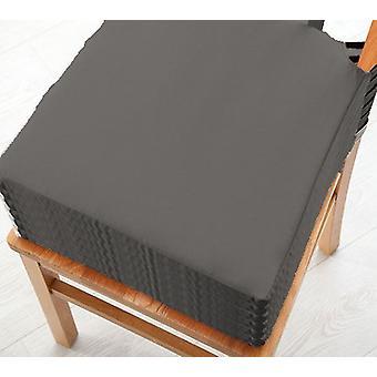 Graue Baumwolle Twill Essstuhl Sitzpad Kissen, Packung mit 6