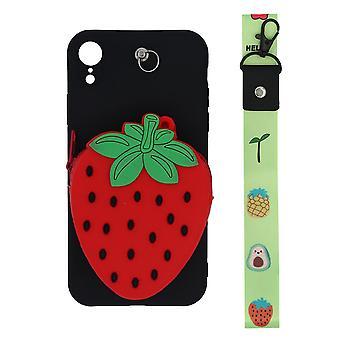 iPhone XR skal/plånboksfodral Jordgubbe/svart/röd