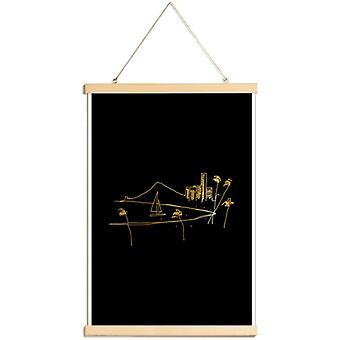 JUNIQE Print - Gold Hawaii - Stranden Poster in Goud en Zwart