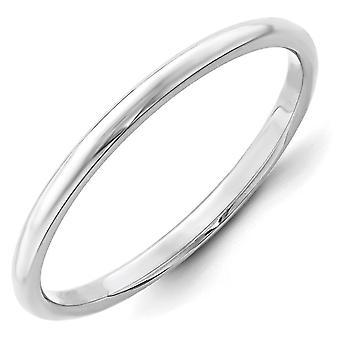 14k bianco oro 2mm mezza fascia rotonda anello - anello Dimensione: 4-14