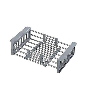 Kitchen Sink Drain Basket Rack Stainless Steel Pool Cutlery Drained Water Retractable Telescopic