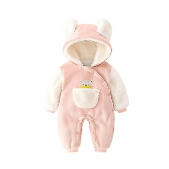 Infant Cotton Romper Long Sleeves Jacquard Hooded Thick One Piece