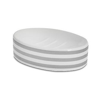 Soap Dish - Glazed Ceramic Bathroom Sink Holder Saver - Grey Stripe