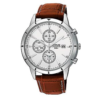 Lorus Mens Leather Strap Chronograph Watch With Alarm Feature (Model. RF325BX9)