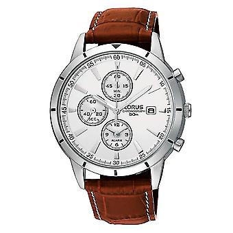 Lorus Mens Lederarmband Chronograph Uhr mit Alarm-Funktion (Modell. RF325BX9)