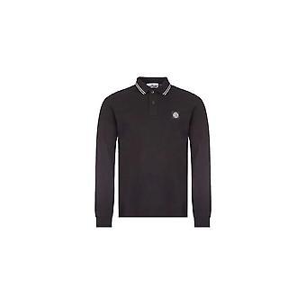 Stone Island Katoen Zwart Lange Mouw Polo Shirt
