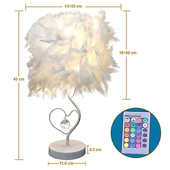 Feather Crystal Table Lamp For Bedroom Light  Art Decoration For Sweet Home