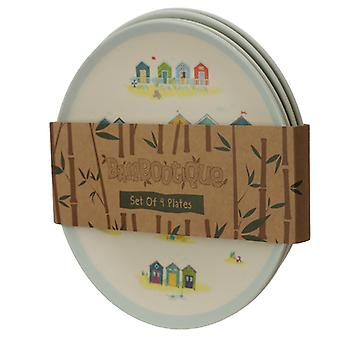 Bamboo Composite Beach Huts Reusable Plate Set of 4 X 1 Pack