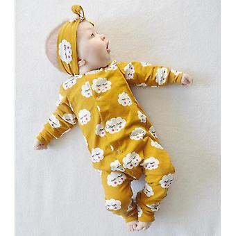Newborn Baby Ruffle Cloud Printing Romper Jumpsuit Pajamas Long Sleeve Soft
