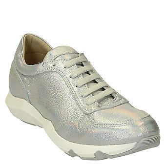 Silver glitter läder sneakers skor handgjorda för kvinnor
