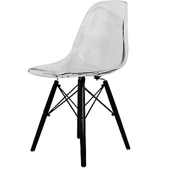 Charles Eames Style Ghost Clear Plastic Retro Side Chair Black Wooden Legs