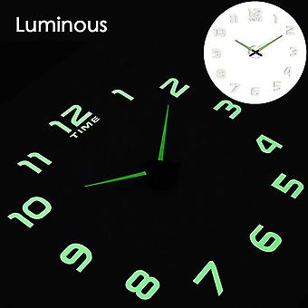 Modern Design Digital Large 3d Diy Home Decor Luminous Mirror Wall Clock
