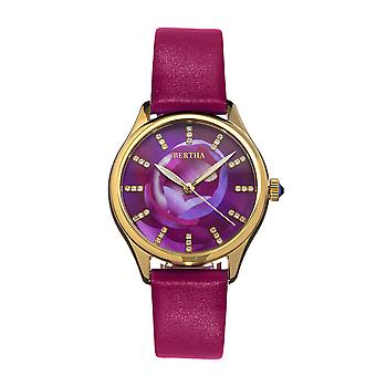 Bertha Georgiana Mother-Of-Pearl Leather-Band Watch - Gold/Magenta