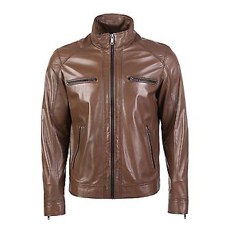 Cuomo men's choco brown leather jacket