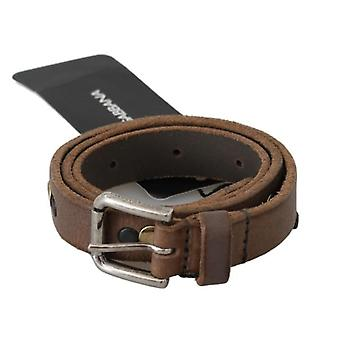 Brown Leather Silver Buckle Waist Belt