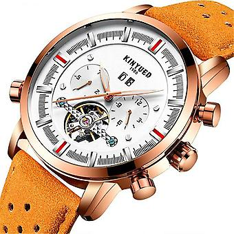 KINYUED JYD-J019 Calendar Casual Style Mechanical Watches Genuine Leather Strap