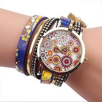 Fashion Folk Custom Style Flower Big Dial Ladies Bracelet Watch women Quartz