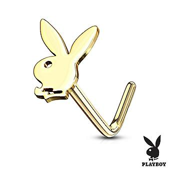 Nose l bend stud rings with playboy bunny top surgical steel 20g