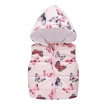 Sleeveless Hooded Wool Vest Jacket With Cartoon Print Coat, Warm Outwear