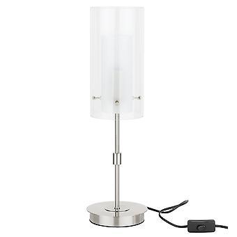 Lámpara de mesa moderna Chrome 1 Luz con blanco, sombra clara, E14