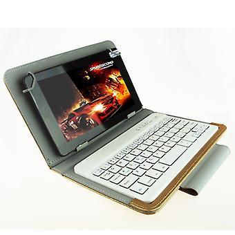 Yleinen Bluetooth-näppäimistö nahkakotelolla &; Pidike Ainol / PiPO / Ramos 9,7 tuumaa / 10,1 tuuman Tablet PC (Gold)