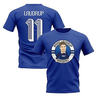 Brian Laudrup Rangers Illustration T-Shirt (Blue)
