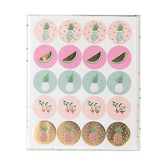 Tropical Sticker Pack 120 Stickers Pineapples Flowers Gold Foiled Craft
