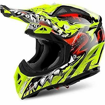 Airoh Aviator 2.2 Full Face Motocross ATV Helmet Black Red Yellow ACU Gold
