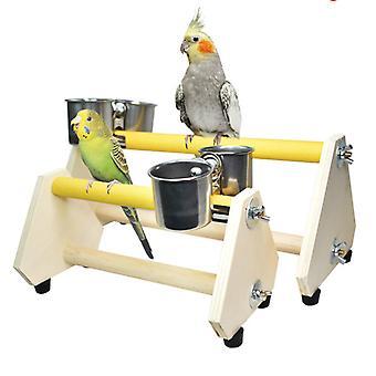 Lintuhäkin syöttöteline papukaija pelata puuteline ruostumattomasta teräksestä syöttölaite astia kuppi lintujen hionta ahvenpöytä platform