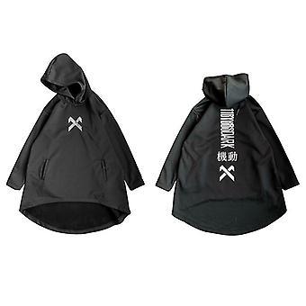 Letter Embroidered Hip Hop Cloak Long Jacket, Men Casual Streetwear, Pockets