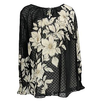 Isaac Mizrahi Live! Women's Plus Top Floral Print Clip Dot Black A349946