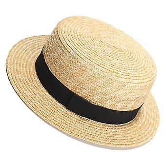 Bateau de paille de blé naturel Fedora Top Flat Hat