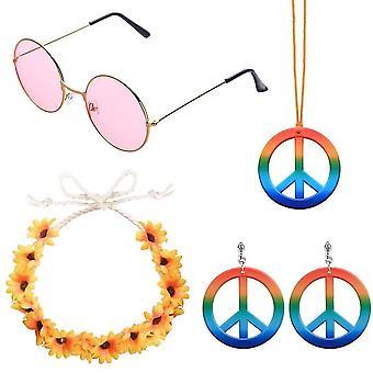 Aboat 4 bitar hippie kostym set innehåller 1 uppsättningar regnbåge fred tecken halsband och örhängen, 1 bit