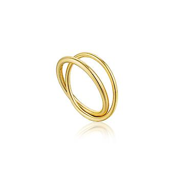 Ania Haie Silver Shiny Gold Plated Modern Double Wrap Ring R002-01G