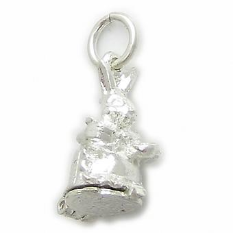 Fru Bunny Kanin Sterling Silver Charm 0,925 X 1 Åbning Kaniner Charms - 4484
