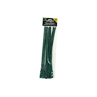 Green Jem Garden Pack Of 20 Reusable Adjustable Plant Cable Ties - 33.5cm X 1.2cm