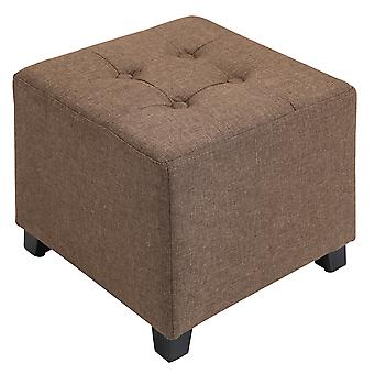 HOMCOM Linen-Look Square Ottoman Footstool w/ Button Tufts Wood Frame Padding Fabric Upholstered Stylish Home Furniture Footrest Side Table Brown