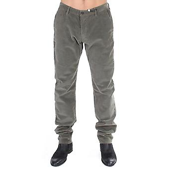 GF Ferre Green Stretch Straight Fit Corduroy Pants