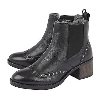Lotus Black Leather Lucinda Ankle Boots for Women