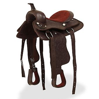 """Western Saddle, Headstall&breast Collar Real Leather 13"""" Brown"""